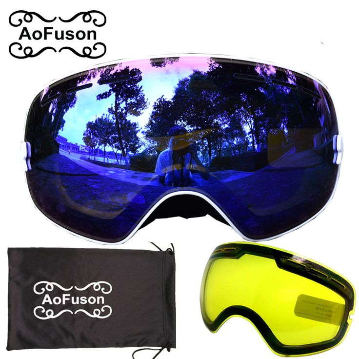 Brand snowboard goggles with Yellow night vision lens double layers anti-fog big vision spherical mask winter skiing glasses