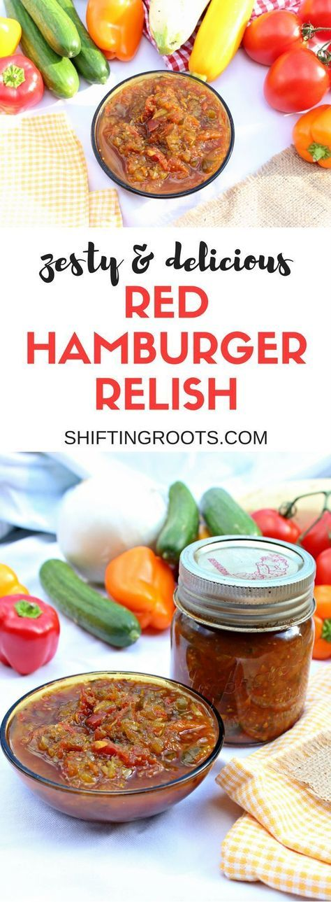 Red Hamburger relish is sweet sour and zesty! Tastes delicious on hamburgers and sausage, or any other meat. A delicious way to use your garden vegetables: cucumbers, tomatoes, zucchini, peppers, and onions #relish #redrelish #canning #hamburgerrelish #tomato #tomatoes #zucchini #peppers #onions #recipe #easyrecipe #canningrecipe #relishrecipe