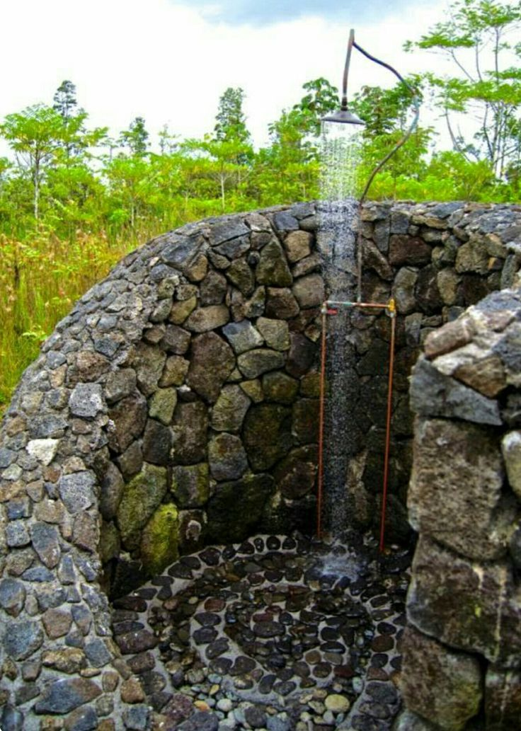 Outdoor shower...pebble floor