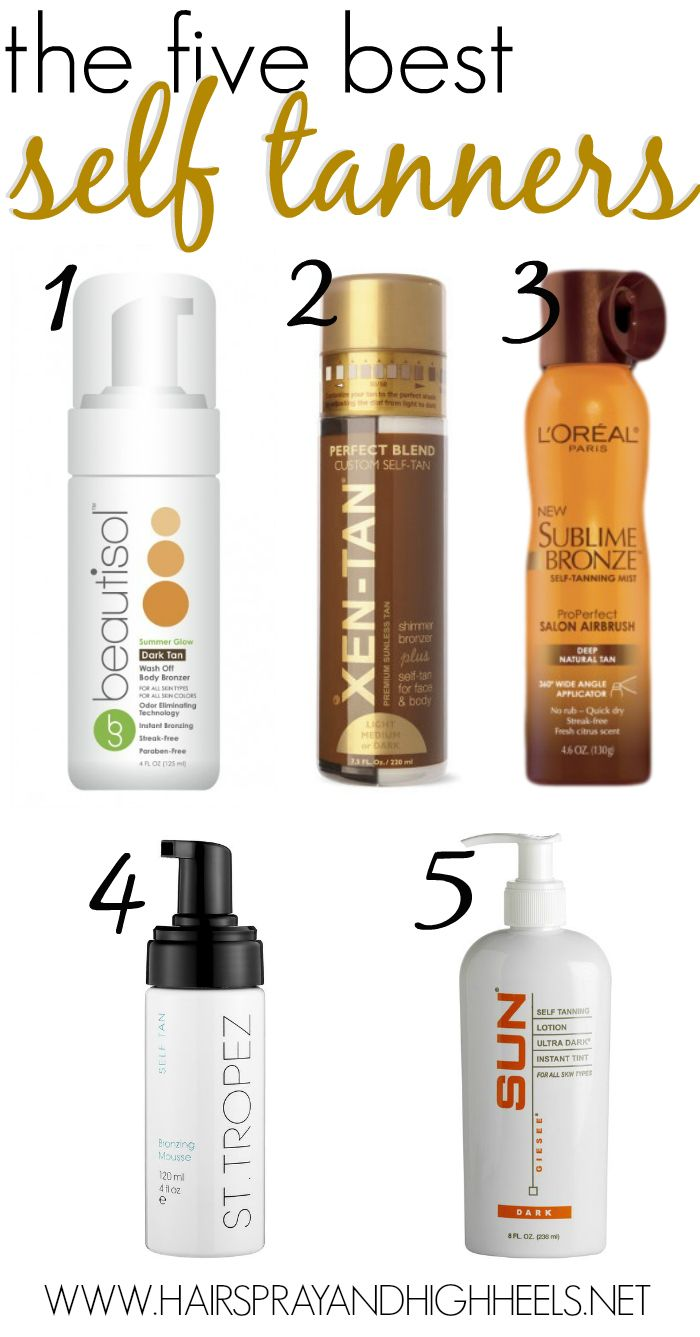 "best self tanners...I've used SUN (#5) as my ""go to"" for years ~ I love the color. Put it on before bed...(I use my bare hands for better, even coverage..but have a bar of soap to wash hands free of tanner every five minutes or so.) wait 20 minutes before putting PJs on...Then sleep on dark sheets...wake up tan! TAH-DAH!!"