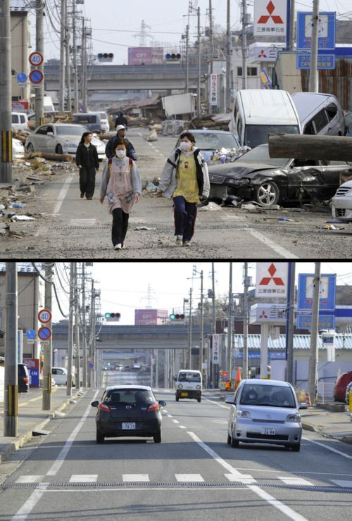 """""""deli-hell-me: Japan earthquake and tsunami: See how the country has rebuilt in 11 months   News   National Post This combination of pictures shows the view of a tsunami hit street in Ofunato, Iwate prefecture on March 14, 2011 (top) and on January 15, 2012 (bottom). """""""