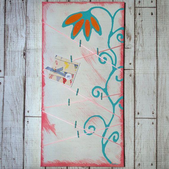 Photo Display Board. Pink, Green and White. Flower. 24x12. by kaetoo #hc4kids #handmadegifts #madeinaustralia #etsyau