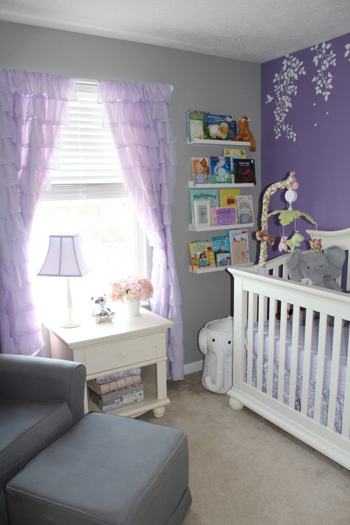 Lavender Girl Nursery Room View. Love the grey and purple together!