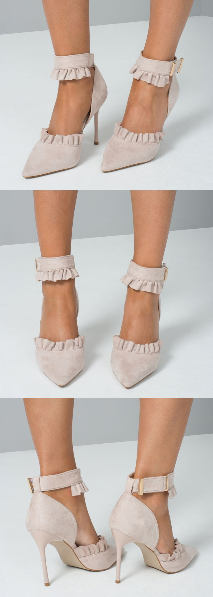 Anita Heels Nude SUEDE RUFFLE HEELS Shoes. Treat your toes with these pretty ruffle detail heels - a gorgeous court shoe style with ankle strap and gold hardware. New in for spring summer 2018 summer wedding guests or day at the races. The ideal shoes that will go with almost anything for Royal Ascot. Fashion, fashionista, Royal Ascot outfit. Nudes and neutrals. #fashion #fashionista #florals #nudeshoes #shoeaddict #racingfashion #dayattheraces #weddingguest #outfits #weddings #affiliatelink