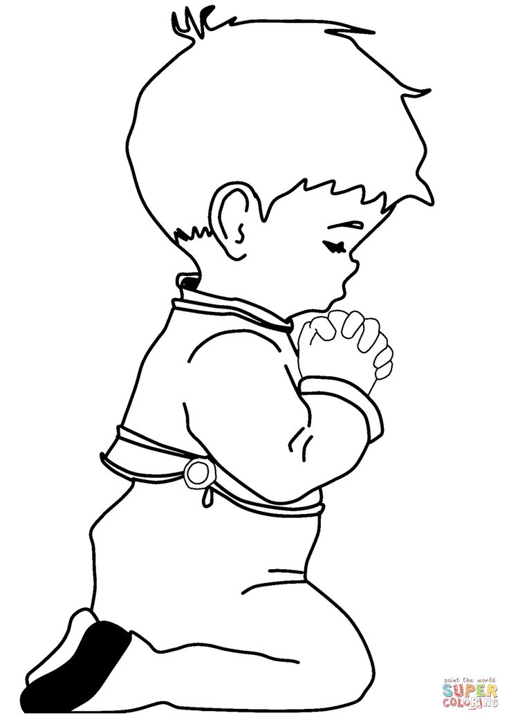 Praying Little Boy coloring page | Free Printable Coloring ...