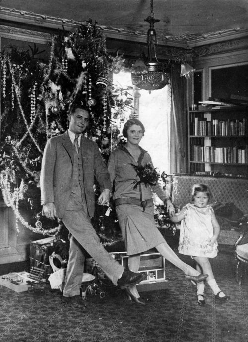Christmas photo of F. Scott Fitzgerald, his wife and daughter.  jj