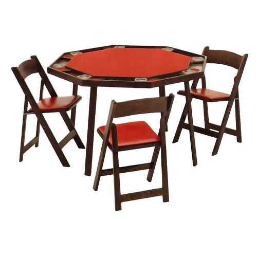 Folding Leg Poker Table With Folding Chairs Set (Ranch Oak, Vinyl Red)