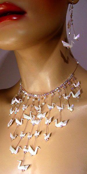 Parure Lac des cygnes Bijoux collier origami blanc
