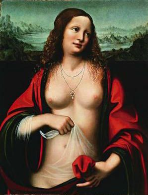 "Mary Magdalen by Da Vinci. Note she is holding a thin ""veil"" over her reproductive area and a red cloth in her left hand. She was the ""bleeding woman"" whose bleeding stopped when ""power went out from"" Jesus. A woman's bleeding stops when she becomes pregnant.."