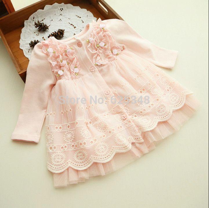 2017 de primavera y otoño 0-2 años ropa de bebé floral del cordón encantador de princesa tutu dress vestidos infantiles del bebé recién nacido vestido infantil