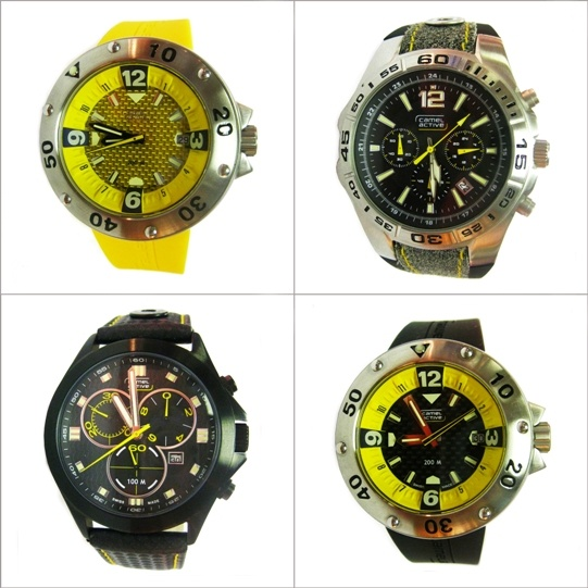 Top to bottom, clockwise: Camel Active Barrier Reef men's watch with yellow strap, Camel Active Jakarta men's watch, Camel Active Barrier Reef men's watch with black strap, and Camel Active Cruiser men's watch – all perfect gift items! http://www.facebook.com/almuftahgroupqatar