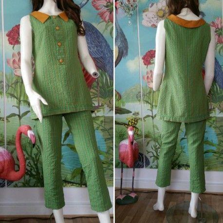 Vintage grön dress, tunika och byxor sval grön bäckebölja, 60-tal till salu