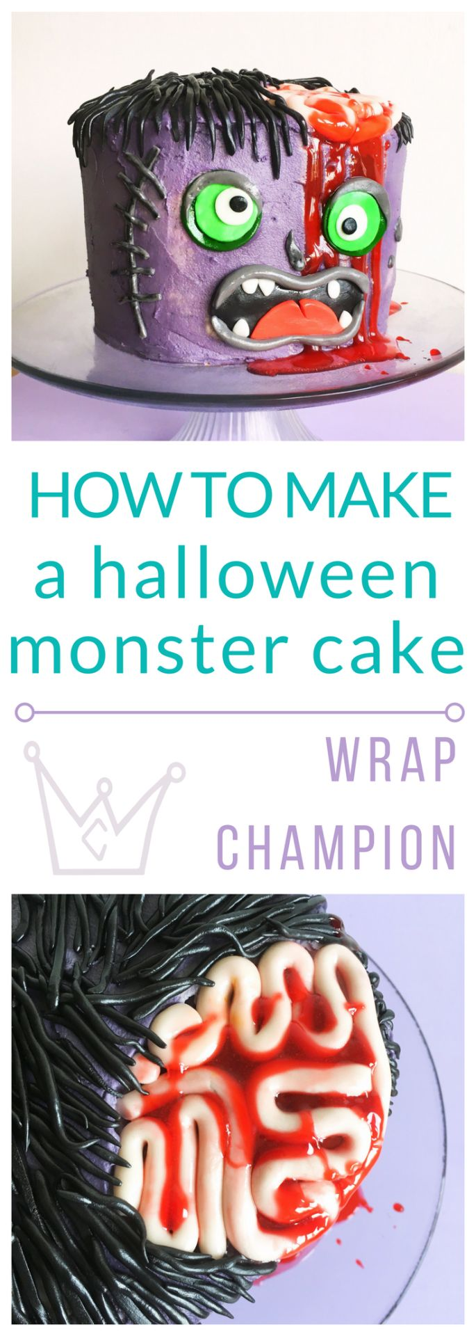 How to make a scary, Halloween, monster cake tutorial with step by step instructions and edible blood