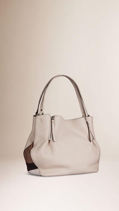 c38e62160300 Burberry White Medium Check Detail Leather Tote Bag 1  Burberryhandbags