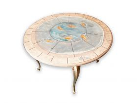 "Round table ""Fishes"" Round coffee table, MDF, hand painted with gouache and wax, with four antique brass legs. #madeinitaly #artigianato #table #tavolo"