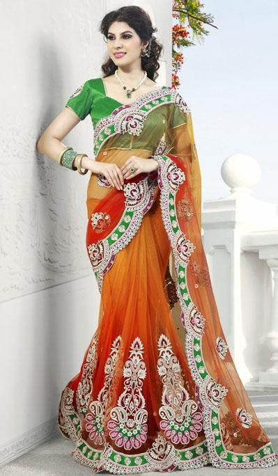 $153.02 Orange Net A Line Embroidered and Cut Work Wedding Saree 25868