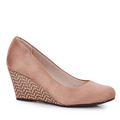 Sapato Anabela Feminino Moleca - Areia