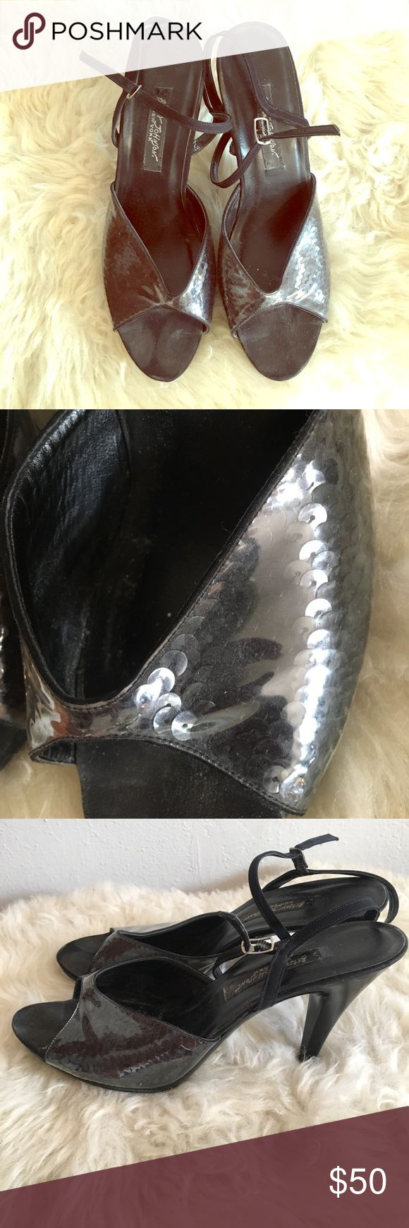 """Vintage Betsy Johnson Blk Sequin strapy 👠Sexy&Fun Vintage Betsy Johnson Blk Sequin strapy heels. Vet Sexy & Fun. Previously worn but overall great condition, see pics. Size 8.5 with approximately a 4"""" heel. Betsey Johnson Shoes Heels"""