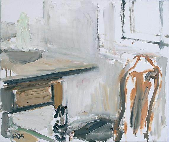 Eilif Amundsen - Stol, bord, vindu - olje på lerret, 56x66 cm