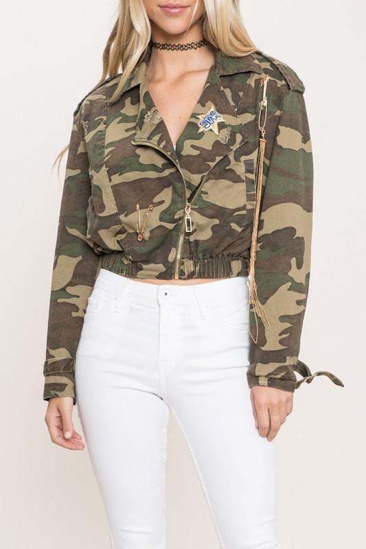 Star Patch Camo Print Jacket