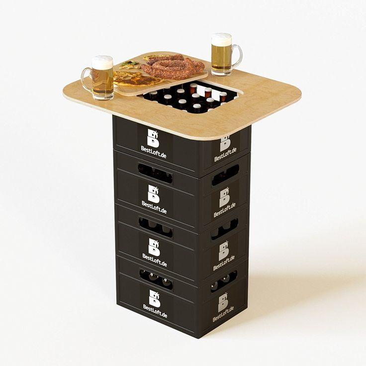 Amazon.de: Original BestLoft® Bierkasten Stehtisch Partytisch Bistrotisch Tischaufsatz 70x58cm (Aufsatz+Servierbrett)