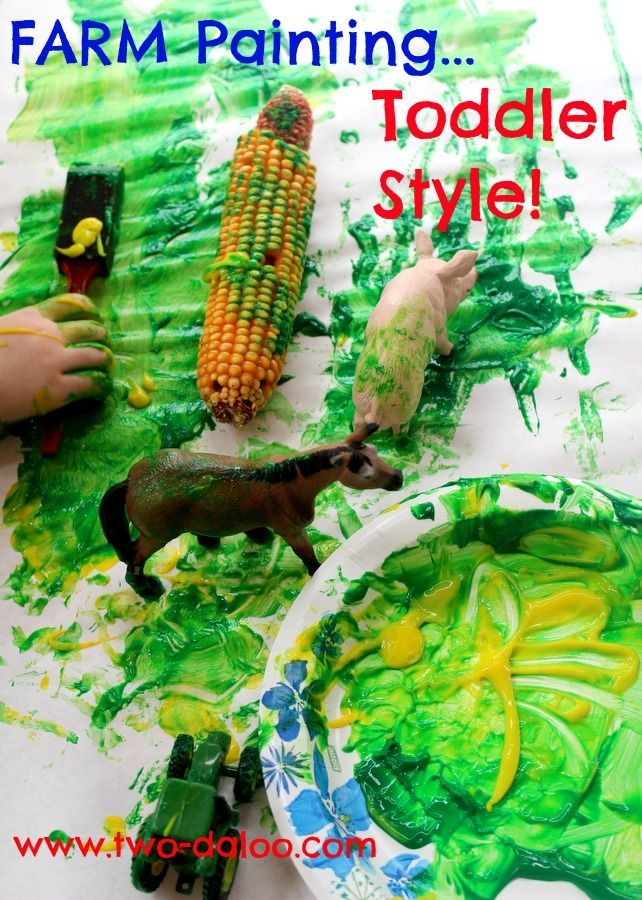 A process-based art activity for young toddlers using objects from our farm unit to paint using non-toxic finger paint.