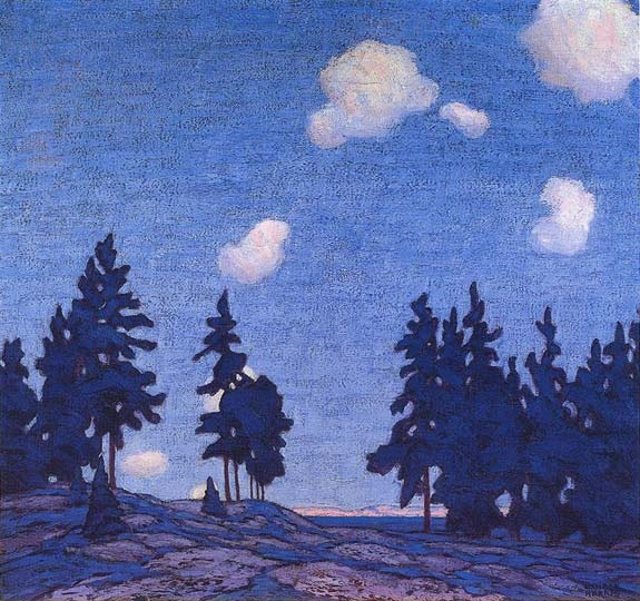 """Decorative Landscape, Landscape 1, 1914, Lawren Harris, oil on canvas, 32 x 34 in., Ontario, Canada. """"Harris had begun painting a series of canvases in response to seeing the Scandinavian exhibition, [Jan. 1913; Edvard Munch, Gustav Fjaestad and Harald Sohlberg], and the resulting flow of new ideas from this experience between Jackson, Thomson and MacDonald. These boldly coloured works are comprised of a fairly abbreviated foreground and a compressed sense of two-dimensional space…"""