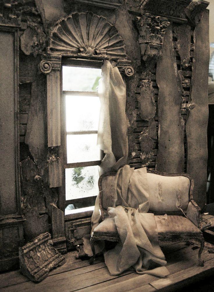Death of a Grand Dame / After the Blitz - 1:12 Scale,  https://flic.kr/p/bbYa64 |   Kenneth Haseltine, age 48, Miniature Artist, Salem Oregon U.S.A