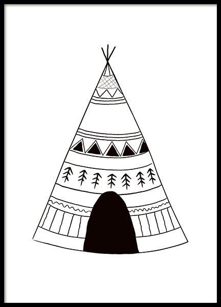Graphic art-Poster mit schwarz-weißem Indianerzelt, passt in alle Kinderzimmer. Es kann auch gut mit den Postern Indian arrows oder Rabbit Chief aus der gleichen Kategorie kombiniert werden. www.desenio.de