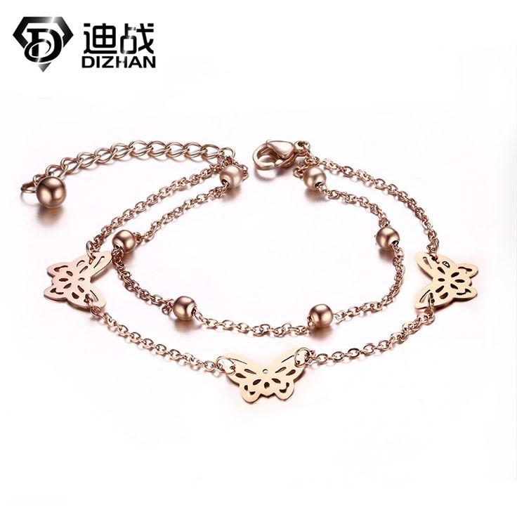 Fashion Pulseras Women Jewelry Wedding Gift Stainless Steel Cute Butterfly Bracelet Gold Color Double Chain Charm Bracelets