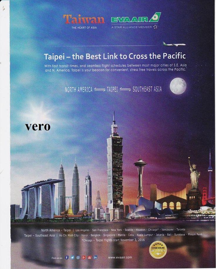 EVA AIR airline 2016 magazine ad clipping print page advertisement Taiwan Taipei