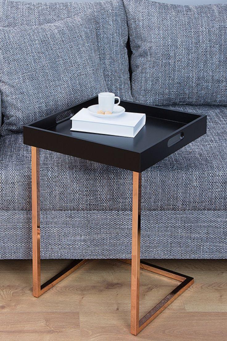 Design Beistelltisch Ciano 40cm Schwarz Kupfer Tablett Tisch Design Beistelltisch Beistelltisch Wohnaccessoires