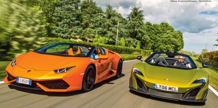 Sprintcars! Der neue Lamborghini Huracan Spyder und der McLaren 675LT Spyder beeindrucken in der AUTO Zeitung bei Readly. Auto Zeitung NR.17 2016