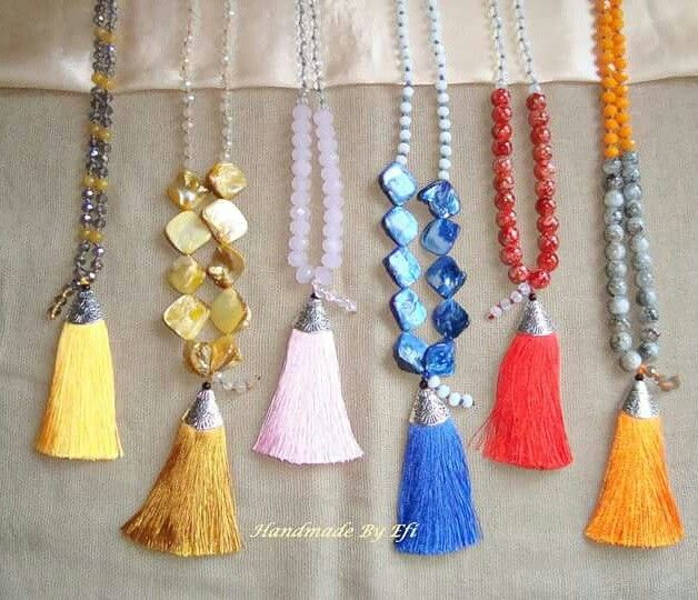 #Handmade_By_Efi #Handmade_Creations_By_Efi #HandmadeByEfi #Handmade #creation #Jewelry #Boho  #Necklace #tassel #crystals #Woman #New μακρυά κολιέ με μεταξωτές φούντες , κρύσταλλα και φίλντισι