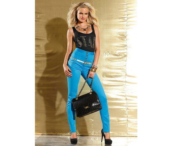 Tinuta albastru cu negru pantaloni cu talia extra inalta