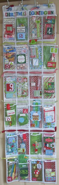 Shoe Pocket Organizer Christmas Countdown by Simply KellyB. Complete kits available.