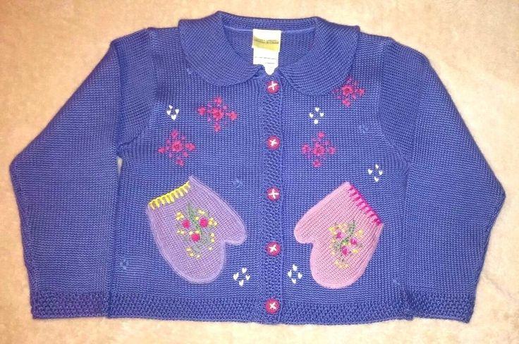 Laura Ashley Mother & Child Size 6-8 Girls Sweater Cardigan Purple Mittens Snow #LauraAshley #Cardigan #EverydayHoliday