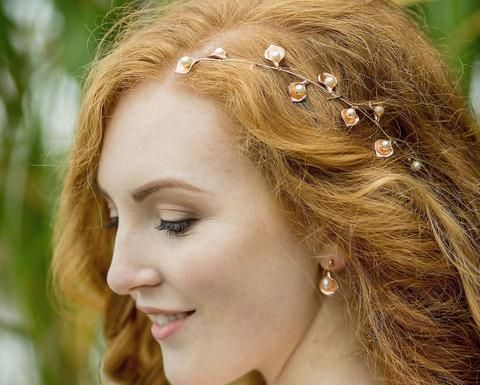 Rose Gold Handmade Rustic Style Leaf & Pearl Hair Vine, Forest Rose