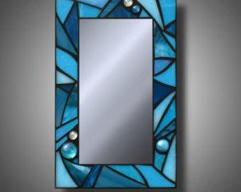 Cobalt Blue Stained Glass Mosaic Mirror Kokomo by MudHorseArt