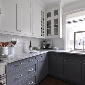 dark barnwood floors, white upper cabinets & dark lower cabinets!