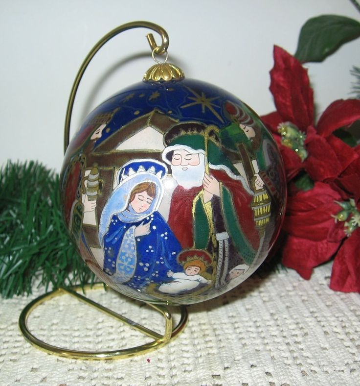 Nativity At Night Glass Ball Religious Christmas Ornament: LI BIEN REVERSE PAINTED GLASS CHRISTMAS ORNAMENT Nativity