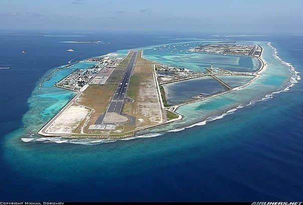 Aeroport on Maldives, located on man-made island in the middle of Indian ocean.