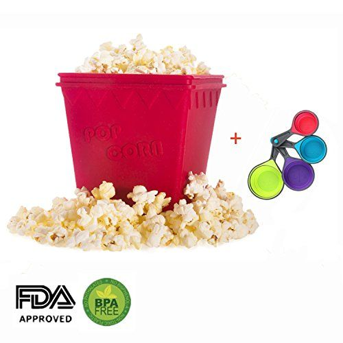 Yzakka Microwave Popcorn Popper Maker No Oil Needed Fast and Easy Homemade Popcorn FDA Approved Food Grade Silicone BPA Free with Free Measuring Spoons Set of 4 Red -- Visit the image link more details. (This is an affiliate link)