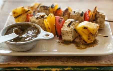 Tofu Veggie Skewers with Pineapple Mango Jerk Sauce // Mother's Day ...
