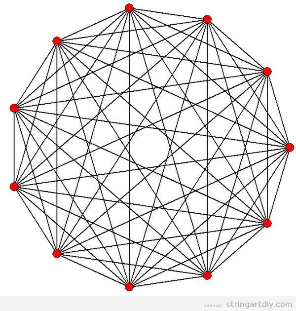 strig art free geometric pattern Hendecagon String Art, free pattern to download