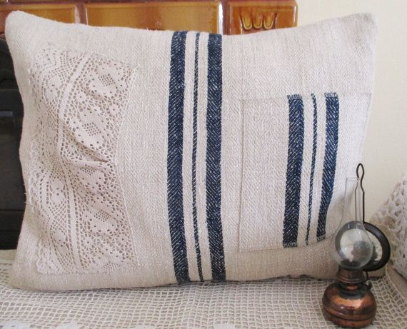 105. Antique grainsack pillow sham handwoven organic hemp