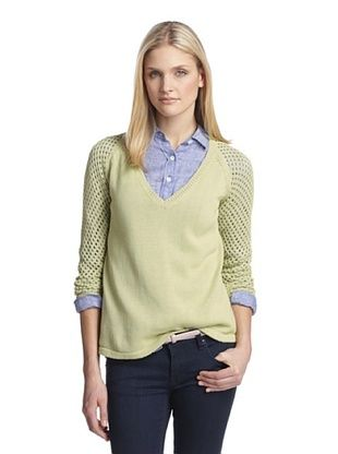 83% OFF Cotton Addiction Women's Sweater with Open Stitch Sleeves (Pistachio)