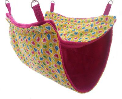 Double Decker Rat Hammock | Ferret Hammock | Cage Accessories | A fabulous double level rat or ferret hammock, also great for degus and other critters that love to lounge. This one is in Funky Hearts style but it is available in many other styles. Two sizes to choose from. Available to buy from crittercorner.co.uk. From £10.50