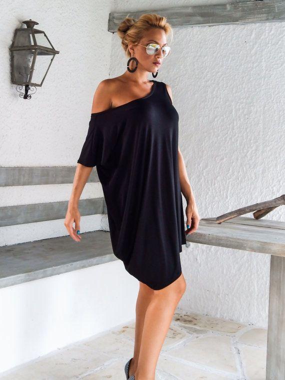 Nero abito asimmetrico  camicia  tunica / Plus Size Abito