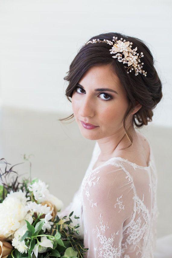 Rose Gold and gold Crystal Bridal Headpiece, Wedding Hair Vine, Bridal Hair Piece, Crystal beaded head piece, Gold Wedding Hair Accessories